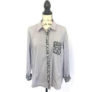 Susan Graver 14 Shirt Black White Striped